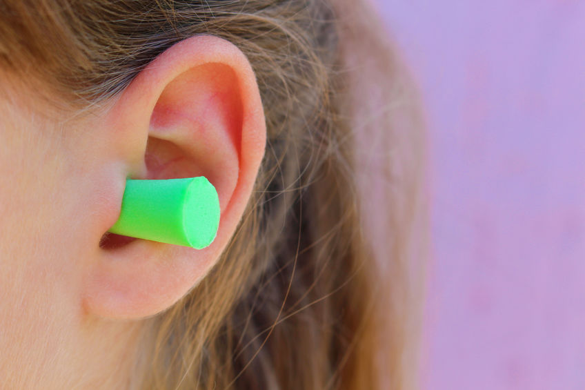 Un tappo per le orecchie verde
