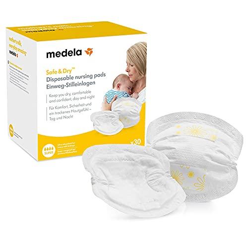 Medela Safe & Dry Coppette Assorbilatte Monouso Coppette per il Seno Ultra Assorbenti e Discrete, Confezione da 30 Coppette per Seno Confezionate Singolarmente