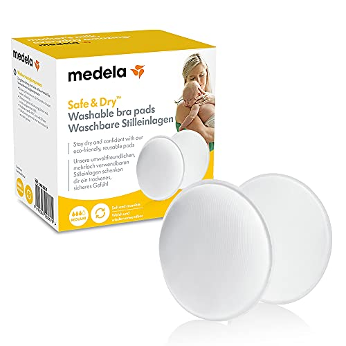Medela Safe & Dry Coppette Assorbilatte Lavabili Coppette per il Seno Traspiranti e Lavabili, Confezione da 4 Coppette per Seno Riutilizzabili