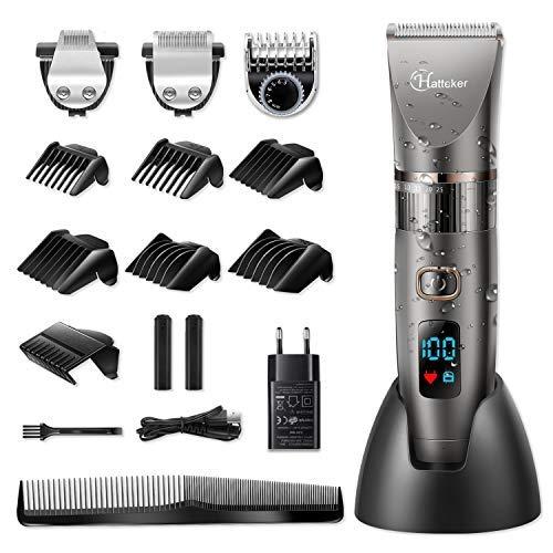 HATTEKER Tagliacapelli Uomo Tagliatrice Professionale Capelli Taglierina Barbiere Barba Elettrica Trimmer e Precisione Impermeabile