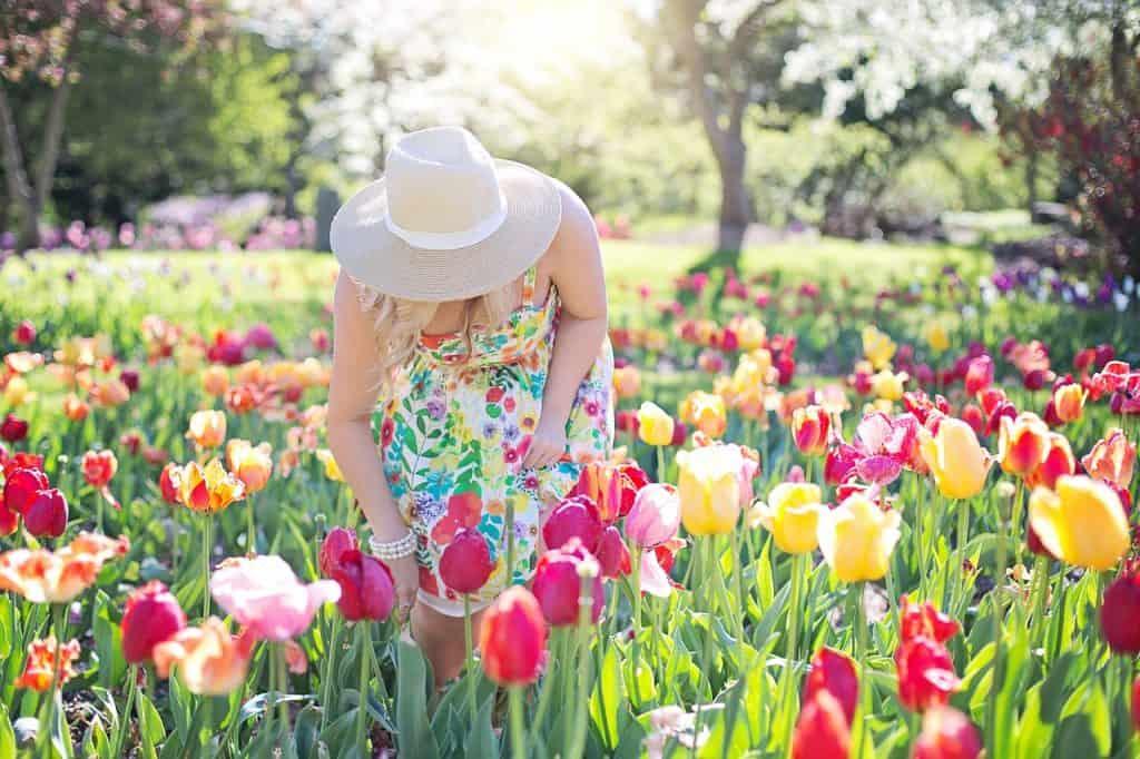 Imagem de uma mulher em um campo de flores.