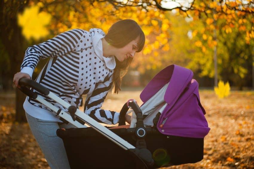 Imagem de uma mulher passeando no parque com seu bebê em um carrinho estilo moisés.