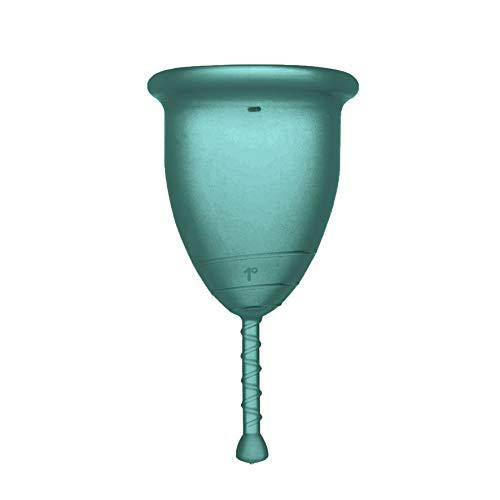 Rainbow Cup, Coppetta Mestruale Made in Italy in Silicone Medicale Senza Lattice e Additivi, Comoda, Ecologica, Sicura, in più Varianti, Coppetta Mestruale Morbida, Colore Smeraldo, Taglia 1