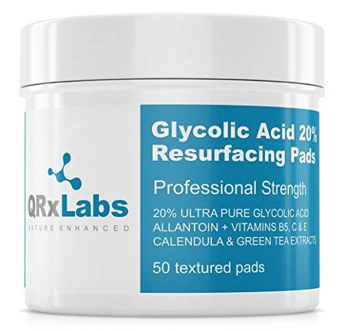 QRxLabs L'acido glicolico al 20% Resurfacing Pad con vitamine B5, C ed E, tè verde, Calendula, Allantoina - Exfoliates superficie della pelle e riduce le rughe