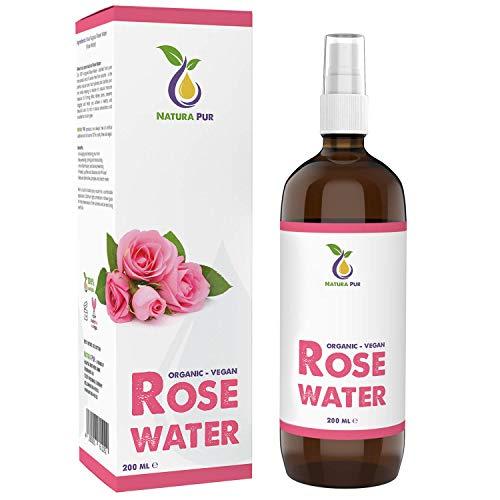 Acqua di Rose Tonico Spray 200ml - 100% BIO, pura, vegan – idratante alla rosa naturale, tonico per il viso per pelli impure, rimuove brufoli acne e anche make-up