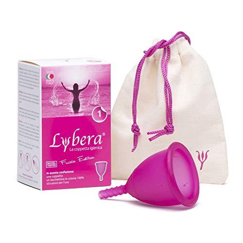 Lybera Coppetta Mestruale Made in Italy, Coppetta Mestruale Morbida, Sicura, in Silicone Medicale, Ecologica, per Igiene Intima, Comoda, Disponibile in 2 Taglie - Taglia 1, Colore Fucsia