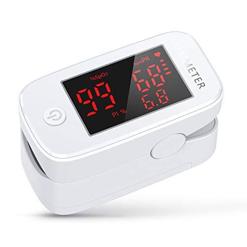 KKmier Ossimetro Saturimetro da Dito Professionale, Pulsossimetro da Dito, Monitor Multifunzionale Portatile per Saturazione di Ossigeno(SpO2), Frequenza Del Polso(PR) e Indice di Perfusione(PI)
