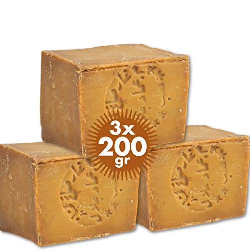 Sapone di Aleppo Pure Now 3 x 200 g circa, 85% olio d'oliva 15% olio di alloro, PH neutro, disintossicazione, fatto a mano