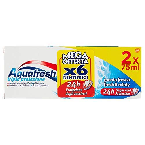 Aquafresh Dentifricio Menta Fresca Esapacco 6X75Ml - 450 Ml