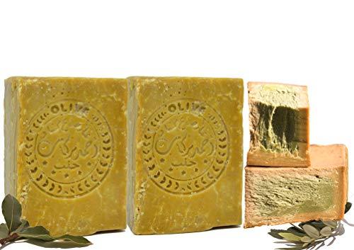 Sapone di Aleppo 2 x 200 g, classico: 60% olio d'oliva, 40% olio di alloro e olio d'oliva, prodotto naturale vegano, sapone per capelli, sapone per doccia, sapone da barba