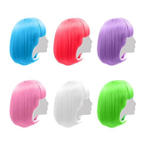 Parrucche colorate per feste, confezione da 6 pezzi, capelli corti al neon colorati per feste di addio al nubilato