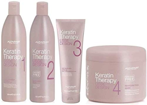 ALFAPARF Lisse Design Keratin Therapy Shampoo 500mil + Smoothing Fluid 500mil + Detangling Cream 150mil + Mask 500mil + INCLUSO Olio di Argan 30mil