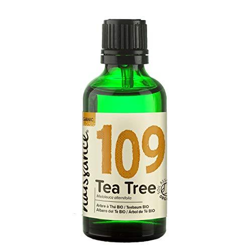 Naissance Olio Essenziale di Tea Tree (Albero del tè) Biologico 50ml - Puro, Naturale, Cruelty Free, Vegan, Distillato a Vapore e Non Diluito - Usato in Aromaterapia, Massaggio e Diffusori