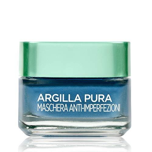 L'Oréal Paris Maschera per il Viso Argilla Pura Anti-imperfezioni con Alghe Marine, Agisce sui Punti Neri e Ristringe Pori, 50 ml