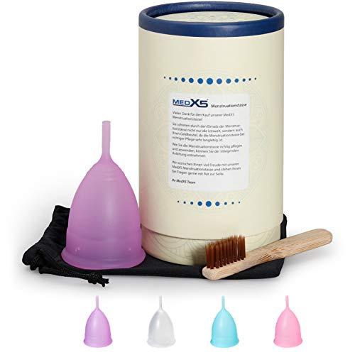 Coppetta mestruale in silicone medicale di alta qualità per sanguinamento normale o pesante, senza BPA, coppetta mestruale con spazzola e borsa per la pulizia, Misura: L, Colore: Viola