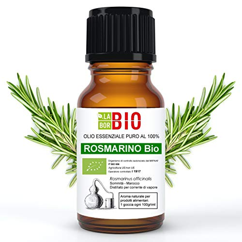 Rosmarino Bio Olio essenziale 100% Puro 30 ml - Uso interno Terapeutico Alimentare Diffusori Aromaterapia Cosmetica Cucina - LaborBio