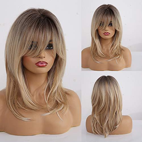 HAIRCUBE Parrucche bionde ricce lunghe Parrucche sintetiche a spalla per donne con frangia 18 pollici Radice scura Parrucche bionde chiare per donne bianche Ragazze