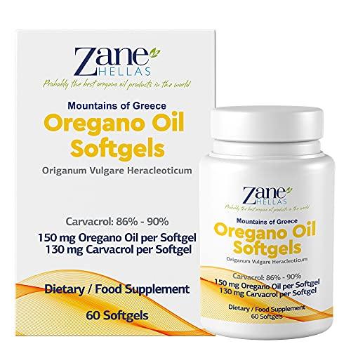 Zane Hellas Oregano Oil Softgels. La più alta concentrazione del mondo. Ogni Softgel Contiene 30% di Olio Essenziale Greco Puro di Origano. 130 mg di Carvacrolo per Softgel. 60 softgel.