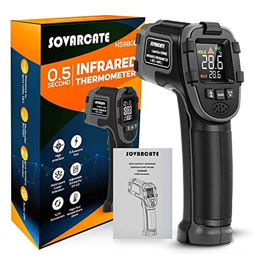 Termometro Infrarossi SOVARCATE Termometro Laser Digitale IR Temperatura Pistola Allarme Alta e Bassa Temperatura -26 ° F ~ 1112 ° F Sonda Temperatura Cottura/Aria/Frigorifero