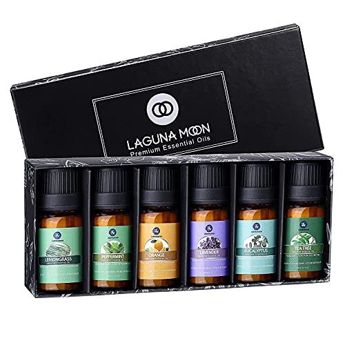 Lagunamoon Olio Essenziale, Top 6 Set di Olio Essenziale Aromaterapia di Lavanda, Eucalipto, Tea Tree, Menta, Citronella y Arancione, Olio Essenziale per Diffusori, Puros al 100%