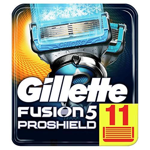 Gillette Fusion5 ProShield Lamette da Barba, 11 Ricambi da 5 Lame, Doppia Striscia Lubrificante, Fino a 1 Mese di Rasatura con 1 Lametta