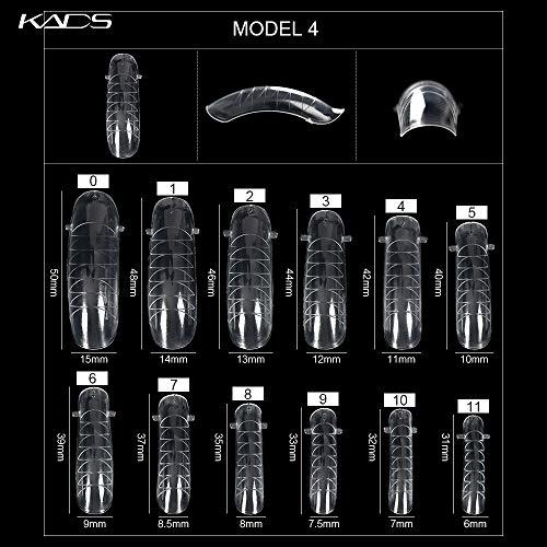 Kads, unghie in acrilico trasparente per nail art con sistema gel a raggi UV, copertura completa, con scala graduata, ideali per ricostruzione, 120 pezzi