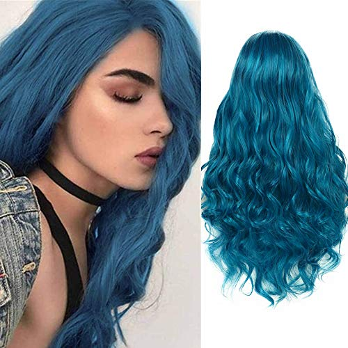 Parrucche Blu Per Le Donne Capelli Sintetici Lunghi Ricci Ondulati Parrucche Piene Resistenti Al Calore Cosplay Halloween Party