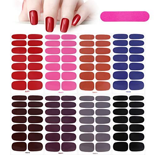 MWOOT 8 Fogli Unghie Adesivi Decalcomanie,Tinta unita Autoadesivo Nail Art Stickers, Adesivo Smalto per Unghie Manicure le Punte Decorazioni