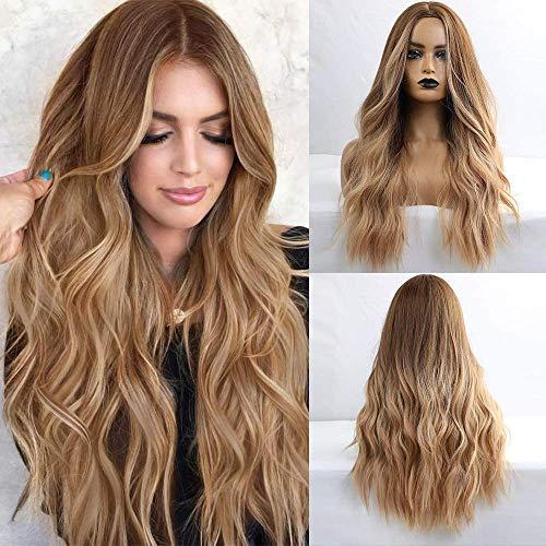HAIRCUBE Parrucca lunga riccia marrone Parrucche da donna con taglio centrale Parrucche da 24 pollici per donna Parrucche sintetiche dall'aspetto naturale