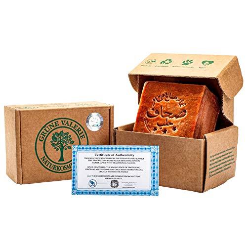 Grüne Valerie® Sapone originale di Aleppo 200g+ 70% / 30% olio di alloro/olio d'oliva - sapone per il lavaggio dei capelli/sapone per doccia PH valore 8 Detox, fatto a mano - stagionato oltre 6 anni