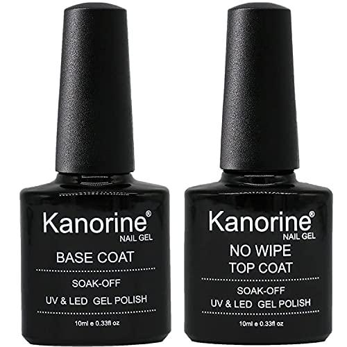 KANORINE ™ Base e Top Coat UV/LED No Wipe Smalto in Gel - Set Composto da Semipermanente Smalto Semipermanente per Unghie in Gel 10ml x2