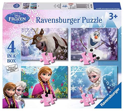 Ravensburger Puzzle, Frozen, 4 Puzzle da 12-16-20-24 Pezzi, Puzzle Bambini, Età Consigliata 3+, Puzzle Ravensburger - Stampa di Alta Qualità