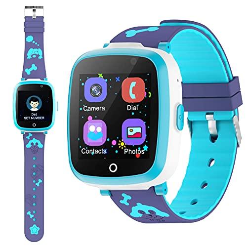 ETPARK&1 Orologio Intelligente Bambini con 6 Giochi, Kids Smart Watch Phone per Bambini Musica MP3, LBS Anti-perso Orologio Intelligente Bambini con Telefono Allarme Camera,3-12 Ys Regalo Bambini