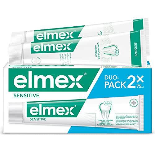 elmex Dentifricio Sensitive, Trattamento Per Denti Sensibili, Solievo Immediato e Duraturo dalla Sensibilità Dentale, con Fluoruro Amminico, 2x75ml