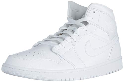 Nike Air Jordan 1 Mid, Scarpe da Basket Uomo, White, 41 EU