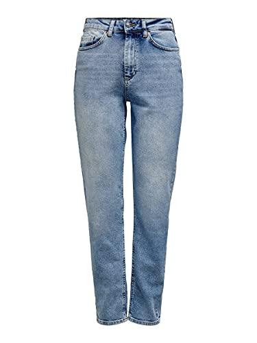 Only Onlveneda Life Mom Jeans Rea7452, Denim Blu Chiaro, 31W / 32L Donna