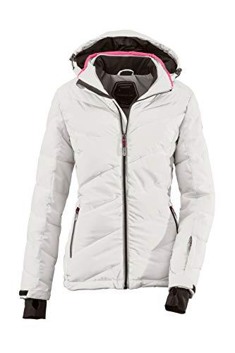 Killtec Ocisa - Giacca da sci da donna, effetto piumino, con cappuccio rimovibile e paraneve, colonna d'acqua 10.000 mm, Donna, 33931-000, grigio chiaro, 36