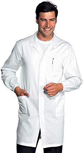 Camice Bianco da Laboratorio Antiacido con Clip Antipanico - Marca Italiana Modello Unisex, Elastici ai Polsi, Tre Tasche e Clip Nascosta Tessuto Leggero e Fresco (M)