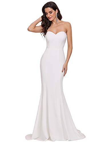 Ever-Pretty Vestiti da Sera Eleganti da Donna Senza Spalline in Stile Impero Aderente a Sirena Lunghezza del Piano con Treno Cattedrale Bianco 40