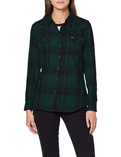 Wrangler Western Check Shirt Camicia, Verde (Pine G01), X-Large Donna