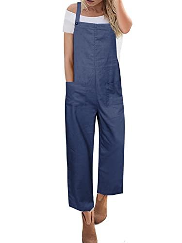 ACHIOOWA Salopette Donna Estiva Jeans Tuta Jumpsuit Elegante Senza Maniche Overall OnePiece Pantaloni Larghi Taglie Forti con Tasche 985432-blu Scuro M