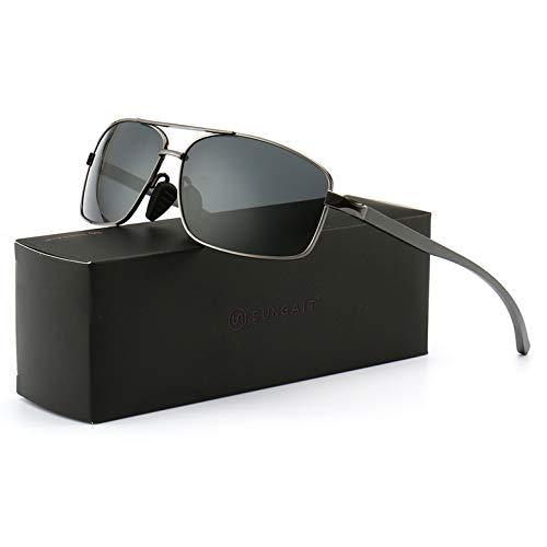 SUNGAIT Occhiali da Sole Maschili Polarizzati Ultra Lightweight Rectangular Sunglasses UV400 Protection (Gunmetal Frame-Gray Lens)