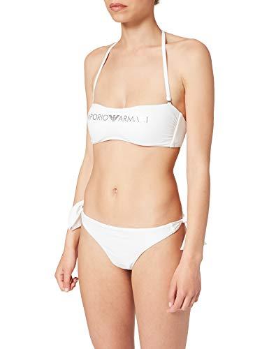 Emporio Armani Swimwear REM.Cups Band & Brazilian W/Bows Bikini Light Logo, Bianco, XL Donna