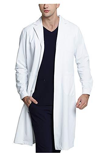 WWOO Camice da Laboratorio Uomo Bianco Abbigliamento da Lavoro e Divise Camice Uomo Aggiornamento del Tessuto Sottile L