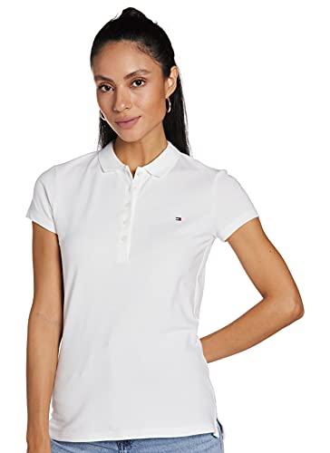 Tommy Hilfiger Heritage Short Sleeve Slim Polo Maglietta, Bianco (Classic White 100), M Donna