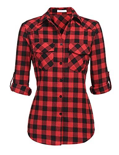 Unibelle, camicia da donna a quadretti, camicia a quadri, a maniche lunghe, in cotone, scollo a V, casual, stile Boyfriend, con maniche regolabili, taglia S-XXL Aa-rosso XXL