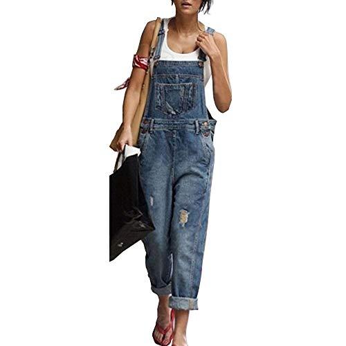 Moda Donna Jeans Strappati Salopette, Morbuy Nuovo Senza Maniche Lunga Jumpsuit Tasche Denim Pantalone Overall Monopezzi Partito Playsuit (2XL,Blu)