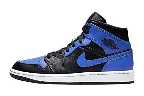 Nike Air Jordan 1 Mid, Scarpe da Basket Uomo, Black/Hyper Royal-White, 42.5 EU