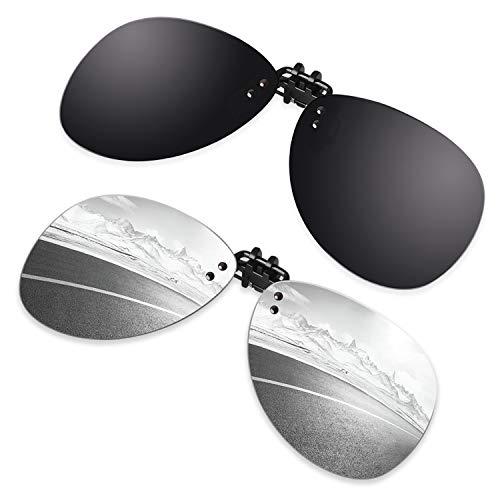 GQUEEN 2 Paia Lenti polarizzate a Clip Senza Bordi Pilota per Nuotare Pescare Occhiali da Sole Occhiali per Prescrizione,JP94
