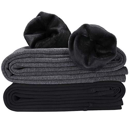 Hotelvs 2 Pezzi Termici Leggings Donna Inverno Caldi Tights Vita Alta Fodera in Caldo Velluto Lunghi Pantaloni, Nero + Grigio